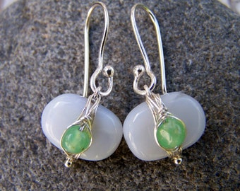 Natural perwinkle holly blue Chalcedony nugget, Australian Chrysoprase nugget, sterling silver, earrings