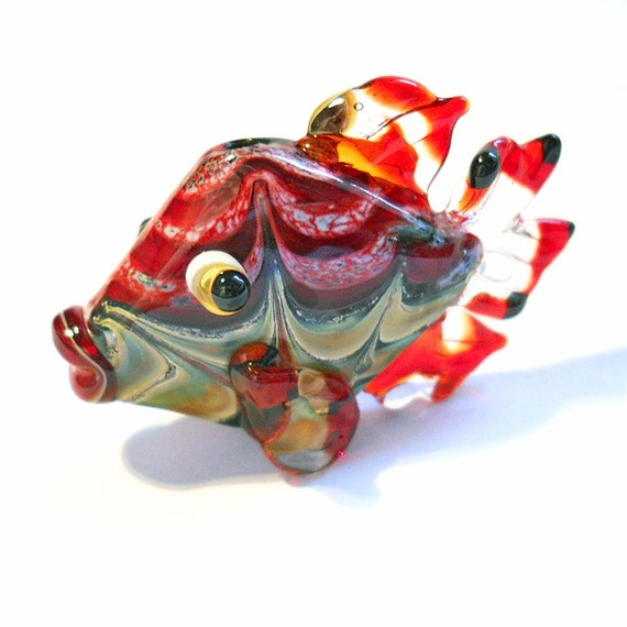 Fish Lampwork glass bead, handmade red organic pendant jewelry supplies, ocean focal bead, SRA art glass, CGGE, tt team