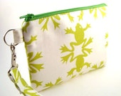 Zippered Wristlet with Detachable Wrist Strap-Alexander Henry Frog