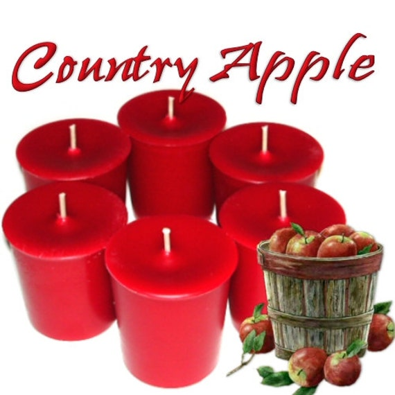 6 Country Apple Votive Candles Apple Blend Scent