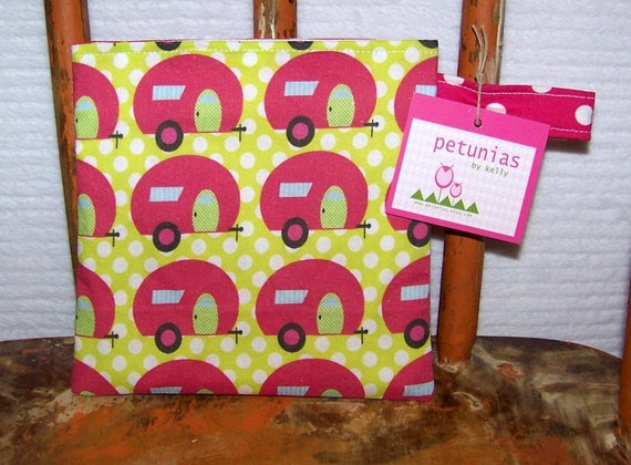 Reusable Little Snack Bag - pouch kids adult campers pink eco friendly by PETUNIAS