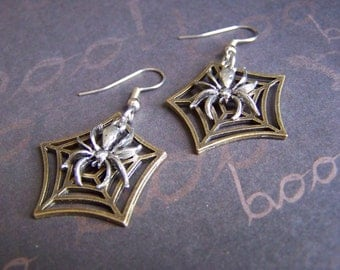 Spider and Web Earrings