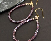 SALE-Mystic Garnet Hoop Earrings- 14k GF