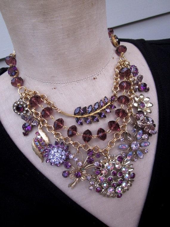 Vintage Amethyst Rhinestone Statement Bib Necklace