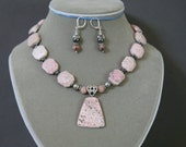 Pink Peace Jade, Rhodochrosite Pendant, Hematite and Antiqued Silver Summer Necklace FREE Matching Earrings