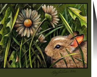 Baby Bunny Greeting Card, Art by Melody Lea Lamb