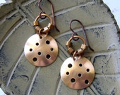 Star Map Earrings with Pierced and Domed Brass Disks