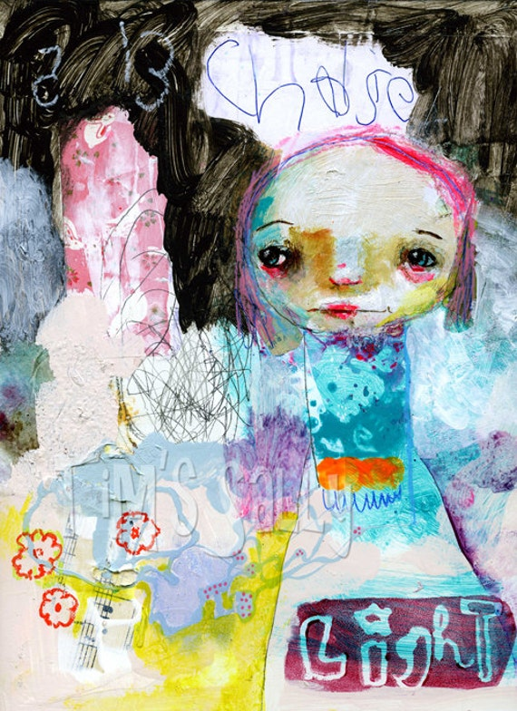 whimsical girl painting, mixed media - CHALISE OF LIGHT - original 9x12 by timssally
