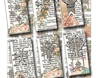 Inspirational Words , 1 x 2 inch domino tile art with Christian words, vintage crosses, and florals, digital collage sheet no. 871
