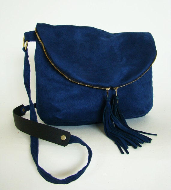 SALE // Foldover Day Traveler Bag in cobalt blue, fold over cross body bag in vegan suede with leather tassels, ready to ship