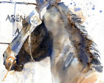 Original Friesian Morgan Warmblood Gelding  horse art watercolor Painting