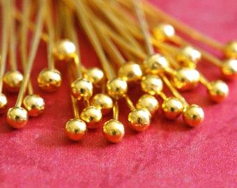 100ps 20mm Golden Finish BALL Pins FINDING