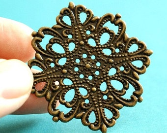 Top Quality 4pcs Antique Bronze Finish Filigree Brass Patchs - Lead Free