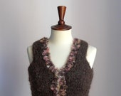 HandKnitted Vest Sweater Brown Pink Sleeveless Super Soft Women Winter Fashion - Italian Mohair - Knitwear