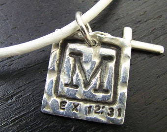 Custom Christian Men's Initial Necklace - Fine Silver Pendant, Leather Necklace, Monogram, Life Verse -  LIFE Collection