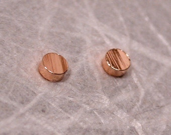 Tiny Textured Gold Studs 2.5mm 14k Rose Gold Posts Faux Bois Earrings by SARANTOS