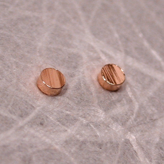 Tiny Textured Gold Studs 2.5mm 14k Rose Gold Posts Faux Bois Earrings by Susan Sarantos