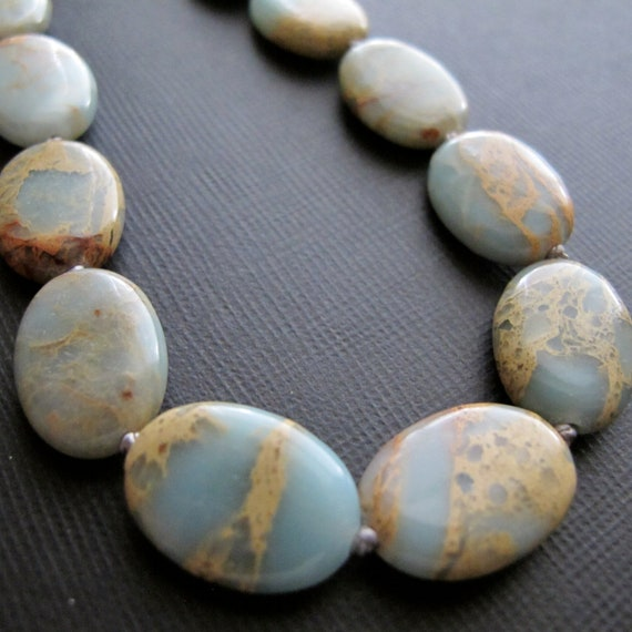 Cyber Monday Etsy Jewelry Aqua Terra Jasper Necklace Knotted Necklace Chunky Under 50
