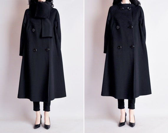 60s mod black wool a line coat / m / l