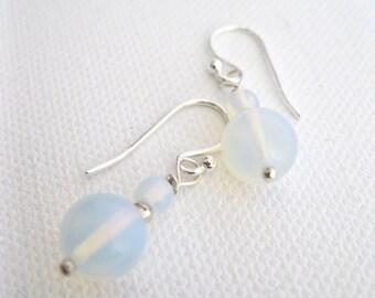 Opalite Sterling Silver Earrings UK Seller Contemporary White Fashion Jewellery
