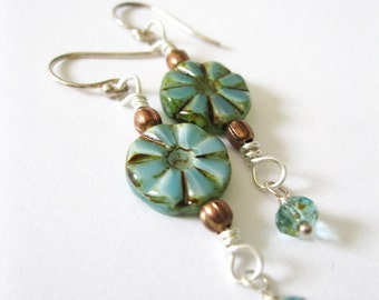 Sterling Silver, copper & Opaque Teal Picasso Coins Earrings - UK Seller - Rustic Teal Jewellery Gift Idea