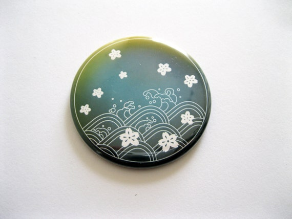 Teal Green Japanese Inspired Design Pocket Mirror - UK Seller