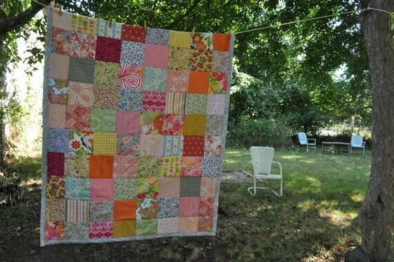 beautiful bright extra large lap quilt -- cotton -- patchwork