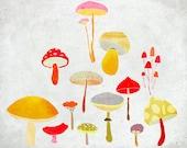 Octobre - Art - Print of an original illustration - Color Print - Drawing - Colorful Mushrooms - Children room wall decor