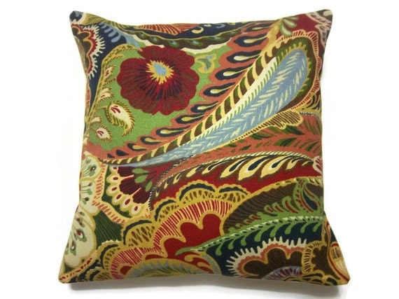 Two Red Blue Green Yellow Paisley Pillow Covers Decorative Toss Accent Throw Covers 16 inch pair