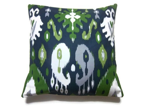 Decorative Pillow Cover Navy Blue Olive Green Chartreuse Gray