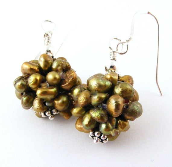 Cluster Pearl Earrings Freshwater Bronze Olive Green Brown Dangle