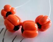 Pumpkin Beads Halloween Orange and Black Polymer Clay