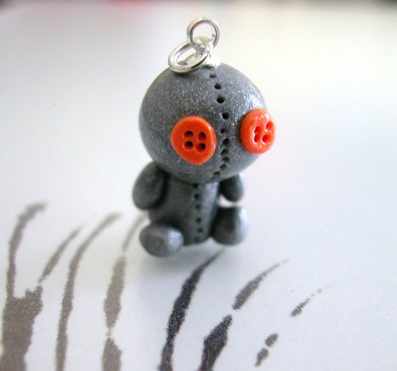 Sack Baby Pendant Charm Gray Orange Button Eyes Handmade Polymer Clay