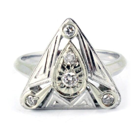 14K Vintage Art Deco Retro Diamond Cocktail Ring