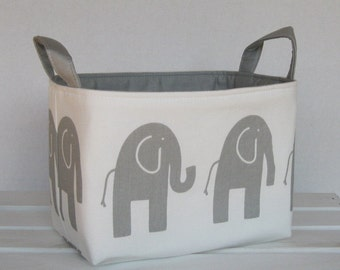 Organizer Storage Fabric Bin Basket Bucket Container Organization - Ele Elephant - Gray on White