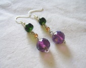 Green and Purple Dangle Earrings - WEEKEND SALE