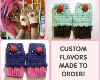 CUSTOM Cupcake Fingerless Mitts - made to order