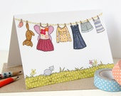 Little Girl's Washing Line Card - Single Card (Blank)