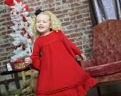 Girls Christmas Valentine red vintage corduroy twirl dress Custom size 12 months to 12 yrs - Ruby