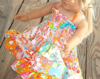 """American Doll dress oragne turquoise Patchwork Twirl dress 18"""" doll dress  spring dress easter dress birthday gift"""