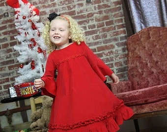 Long sleeve Christmas dress, red holiday Valentine dress, ruffled twirl dress, corduroy winter dress, formal red dress with vintage flair,