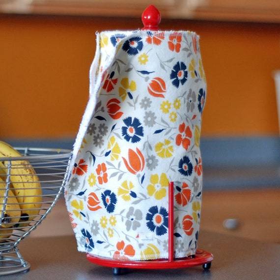 READY-TO-SHIP - Snapping Paper Towel Set - Reusable, Eco-Friendly - Retro Flowers - Cotton and Terry Cloth