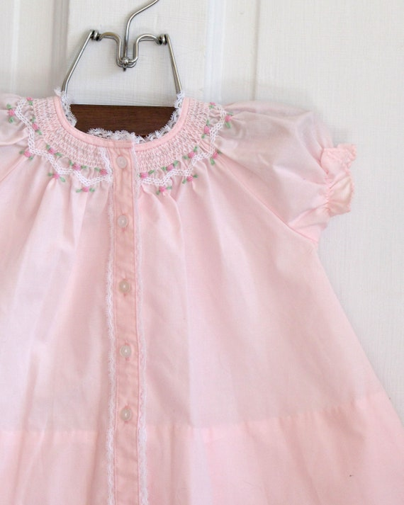 Baby Girls Vintage Smocked Pink and Lace A line Dress (3-6 months)
