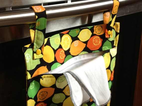 Lemon Lime 13x20 kitchen wetbag - hanging laundry storage for the earth friendly kitchen