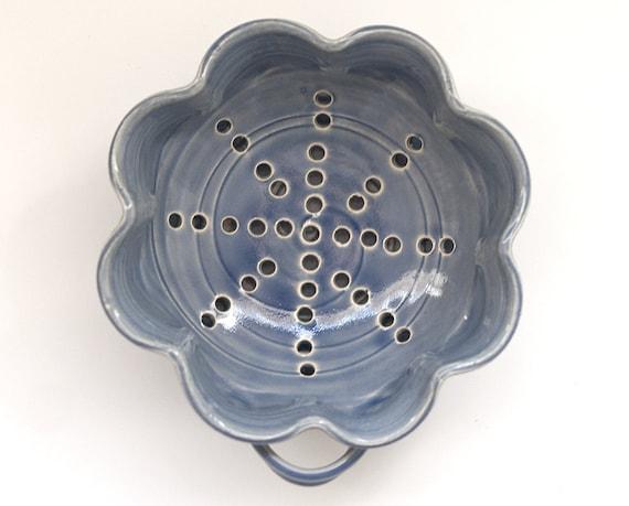 Floral Berry Bowl - Pottery Strainer - Medium - Cobalt