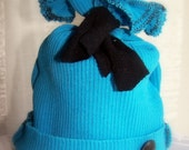 Baby Boy Infant PHOTO PROP Upcycled Knit Hat Bright Blue and Black Hand-Crafted Hand-Embellished