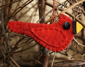 cardinal ornament  Christmas red wool felt holiday felt decoration