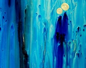Blue Art Print Never Alone from Painting Colorful Blue Spiritual Love People CANVAS Ready To Hang Large Artwork Peace Aqua White Art Modern
