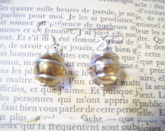 Wire-Wrapped Champagne Bubble Glass Marble Wire Earrings