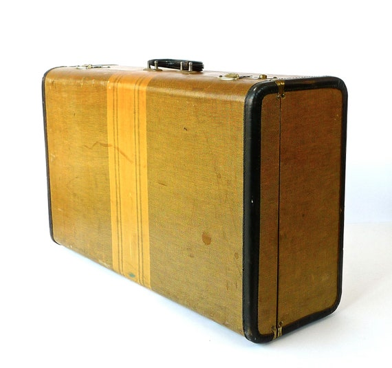 Large Tweed Suitcase with Emerald Green Interior